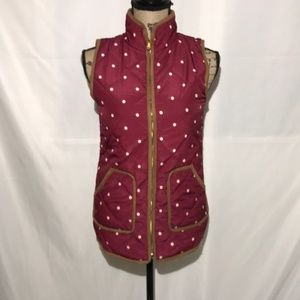Red Camel Wine Polkadot Puffer Vest